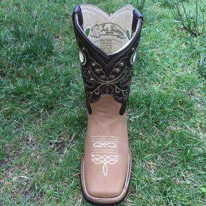 La Sierra Shoes - Women's cowgirl boots Square toe Honey Color